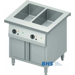 Cold chafing dish 2 GN1/1 with separator and heated cupboard
