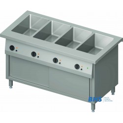 Cold chafing dish 4 GN1/1 with separator and heated cupboard