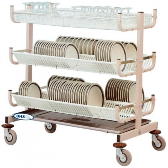 Dish and glass drying rack trolley