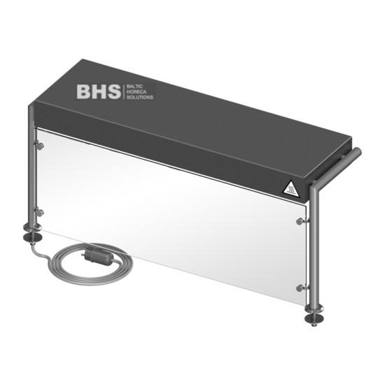 Protective glass with heated shelf