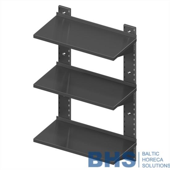 Wall shelf for equipment triple