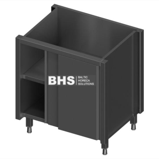 Module with adjustable shelf and sliding doors
