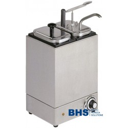 Heated sauce dispenser with 1 pump and 1 container