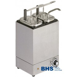 Heated sauce dispenser with 2 pumps