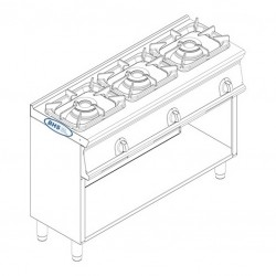 Gas stove with 3 burners PCGM12FG7