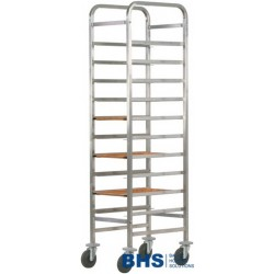 Reinforced trolley for 10 trays with stainless side panels