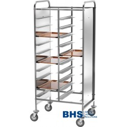 Trolley for 20 trays with stainless side panels