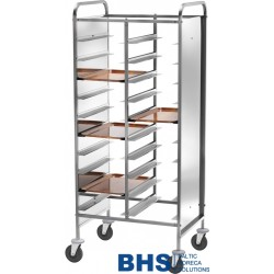 Reinforced trolley for 20 trays with stainless side panels