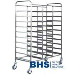 Trolley for 30 trays with stainless side panels