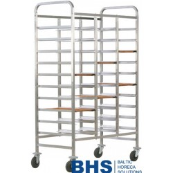 Reinforced trolley for 30 trays with stainless side panels
