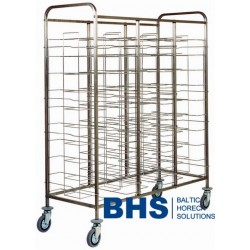 Universal trolley for 30 trays with stainless side panels
