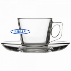 Glass coffee cup with saucer