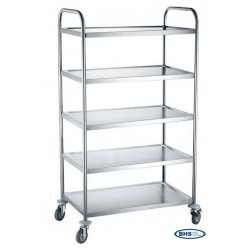 Serving trolley with 5 shelves